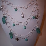 Chalk Turquoise and Etched Pewter Necklace