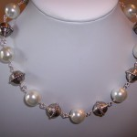 Metal and Faux Pearl Necklace