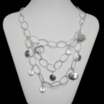 Pewter & Oyster Shell Bridge Necklace