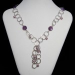 "Amethyst & Fresh Water Pearl ""T"" Necklace"