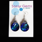 Blue Swarovski Crystal Twist Earrings