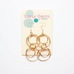 Double Orbit Gold Tone Hoops