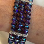 Amethyst Shimmer Swarovski Crystal Three Strand Stretch