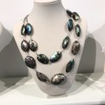 Abalone Double Necklace on Platinum Tone Rollo