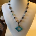 Light Blue Dichroic Glass  Pendant with Copper & Green Agate Balls