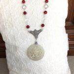 Bamboo Coral & Crystal Quartz with Jade Pendant