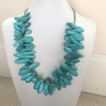 Chalk Turquoise Teardrops on Platinum Tone Rollo