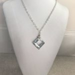 Mirror Swarovski Crystal Square Pendant on Sterling
