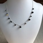 Black AB Swarovski Crystal Tin Cup Necklace