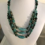 African Turquoise Triple Strand Necklace