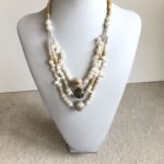Fresh Water Pearl and Horn Triple Necklace