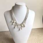 White Swarovski Crystals Clusters on Triple Rollo Necklace