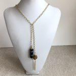 Obsidian Pendant & Mesh Ball Tassel Side by Side Necklace