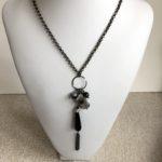 Black Onyx Teardrop Cluster Necklace