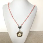 Bamboo Coral and Horn Pendant Necklace