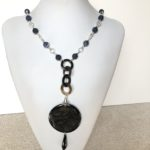 Frosted Lapis with Black Horn Pendant & Black Onyx Necklace