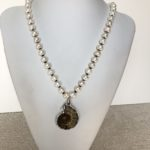 Fresh Water Pearls with Ammonite Fossil Necklace