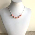 Five Piece Coral Swarovski Crystal Pearls Necklace