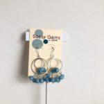 Aquamarine Cluster Hoop Earrings